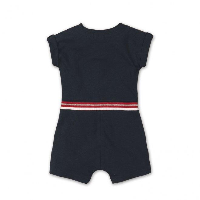 Dirkje Mädchen kurzer Overall dunkelblau mit Taschen und Knöpfen