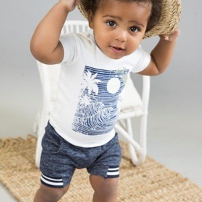 Dirkje jongens 2-delige set wit T-shirt en donkerblauw gemêleerde short
