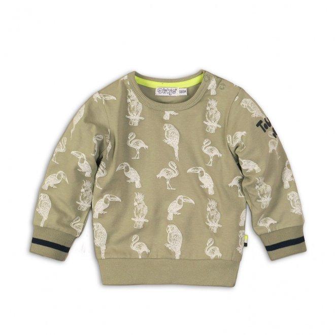 Dirkje jongens sweater licht legergroen met tropische vogels