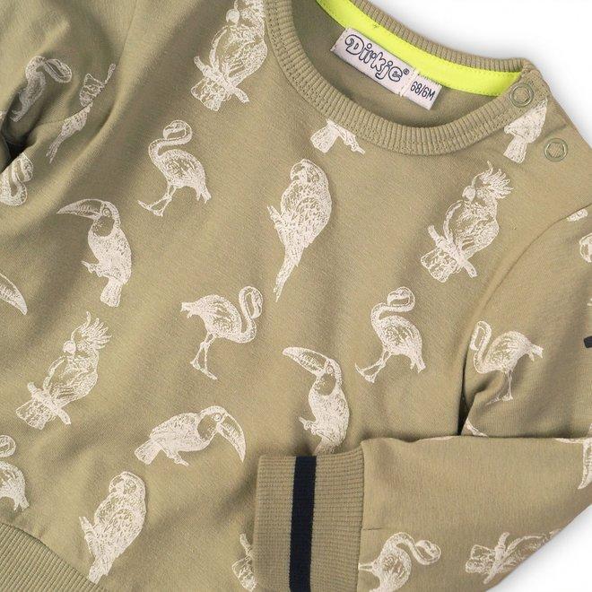 Dirkje Jungen Pullover Licht Armee grün mit tropischen Vögeln