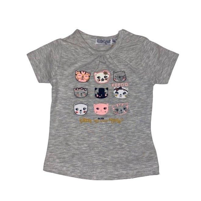 Dirkje girls T-shirt grey melange kitten print