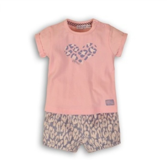 Dirkje baby girls 2-piece set light blue panther