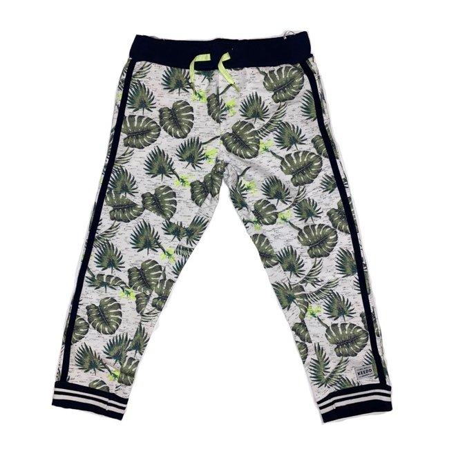Dirkje boys sweatpants army green neon yellow with palm leaf print