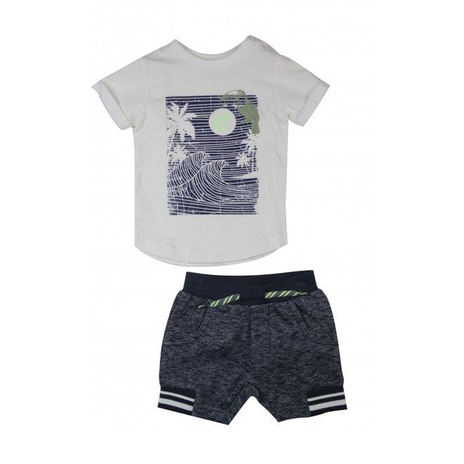 Dirkje boys 2 piece set white T-shirt and dark blue melange shorts
