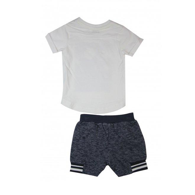 Dirkje Jungen 2 Stück Set weißes T-Shirt und dunkelblau gemischt Shorts
