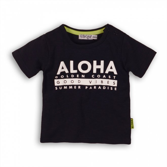 Dirkje jongens T-shirt donkerblauw met witte Aloha print