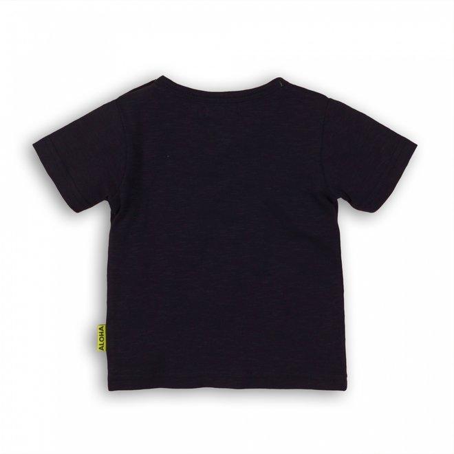 Dirkje boys T-shirt dark blue with white Aloha print