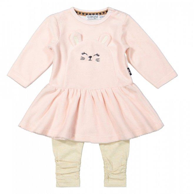 Dirkje Mädchen Baby Set Kleid mit Leggings hellrosa