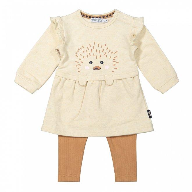 Dirkje Mädchen Baby Set Kleid mit Leggings beige