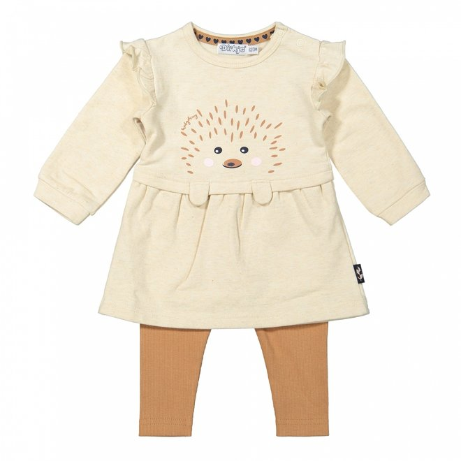 Dirkje meisjes baby set jurkje met legging beige