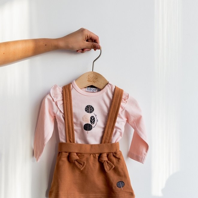 Dirkje girls baby set with skirt pink camel
