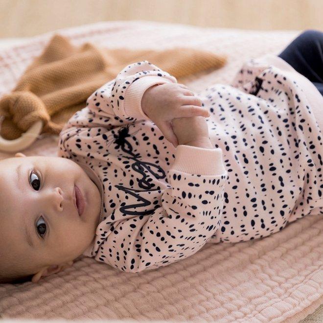 Dirkje meisjes baby set jurkje met legging roze en blauw