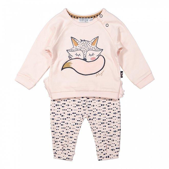 Dirkje Mädchen Baby Set Pullover mit Hose rosa