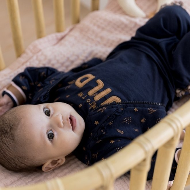 Dirkje meisjes baby set vest broek en shirt donkerblauw