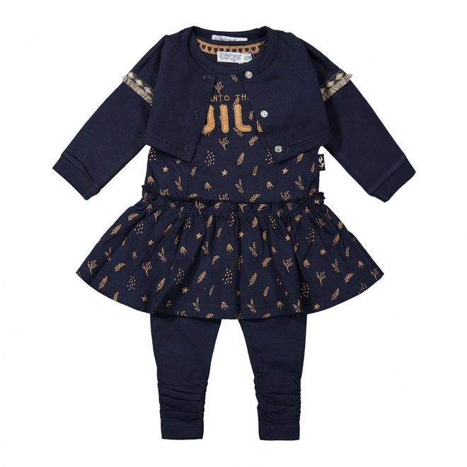 Dirkje Mädchen Baby Set Strickjacke Kleid und Leggings dunkelblau