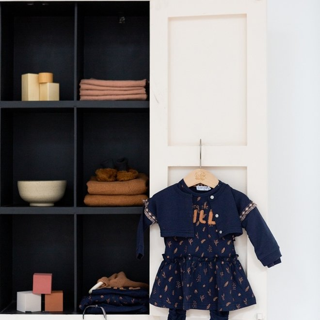 Dirkje girls baby set cardigan dress and legging dark blue