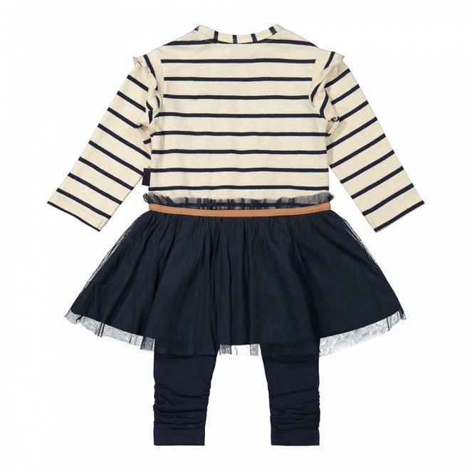 Dirkje girls baby set dress with legging dark blue beige