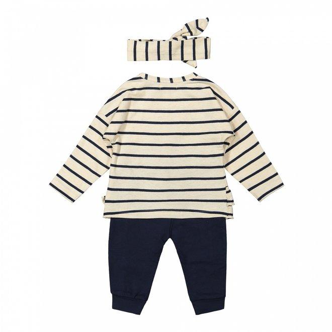 Dirkje girls baby set trousers with shirt beige dark blue