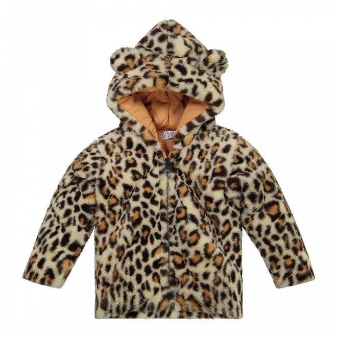 Dirkje girls winter coat faux fur beige panther hood