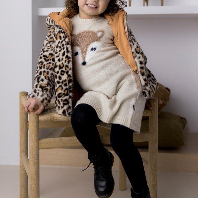 Dirkje meisjes winterjas imitatiebont beige panter capuchon