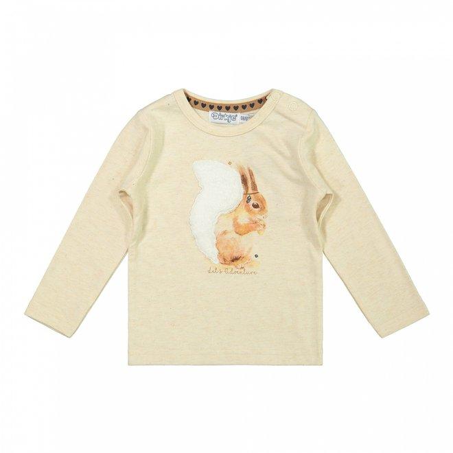 Dirkje girls shirt beige squirrel