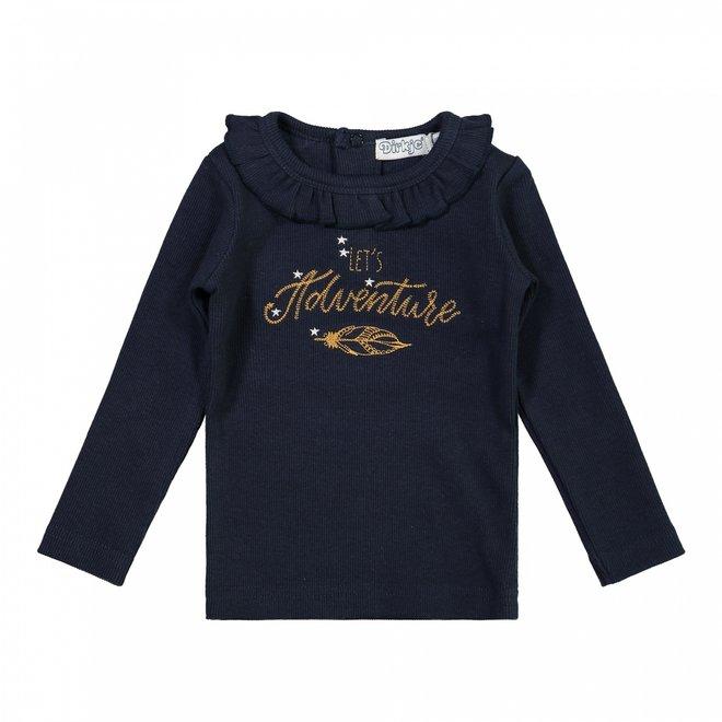 Dirkje Mädchen Shirt dunkelblau Rüsche
