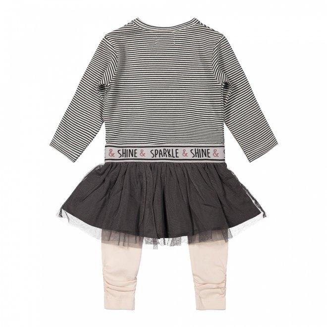 Dirkje Mädchen Baby Set Kleid mit Leggings dunkelgrau rosa