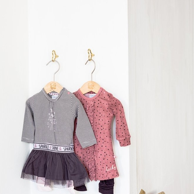 Dirkje girls baby set dress with legging dark grey pink
