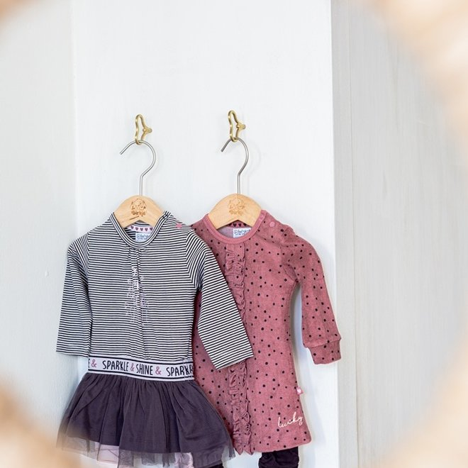 Dirkje Mädchen Baby Set altrosa Punkte Kleid mit Leggings