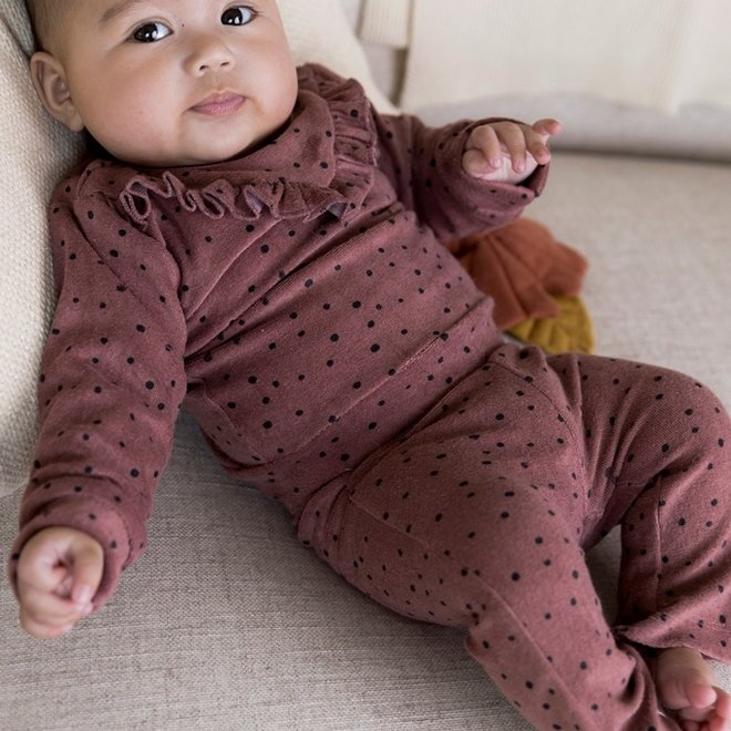Dirkje girls baby set polka dots jumper and flared trousers old pink