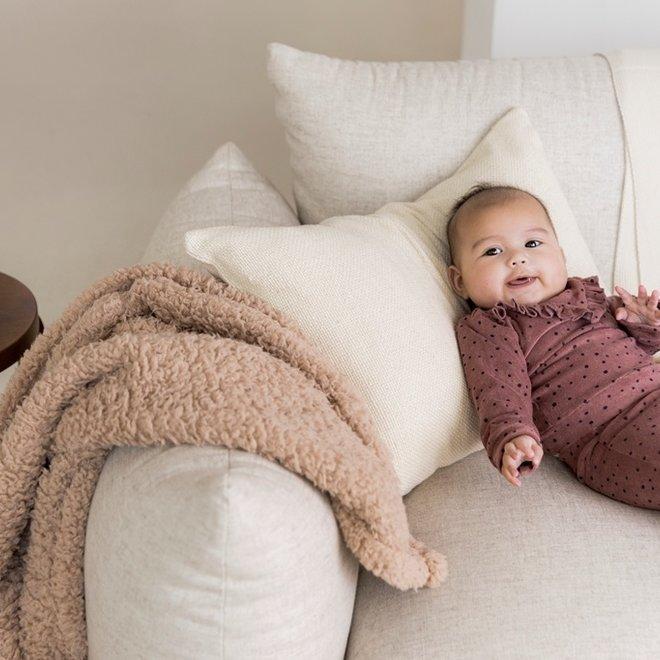 Dirkje meisjes baby set stippen trui en flared broek oudroze