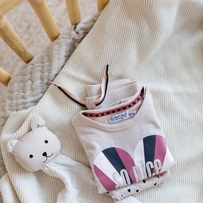 Dirkje Mädchen Baby Set Strickjacke Hose und Shirt Herzen drucken