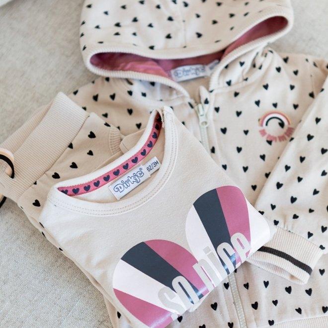 Dirkje girls baby set cardigan trousers and shirt hearts print