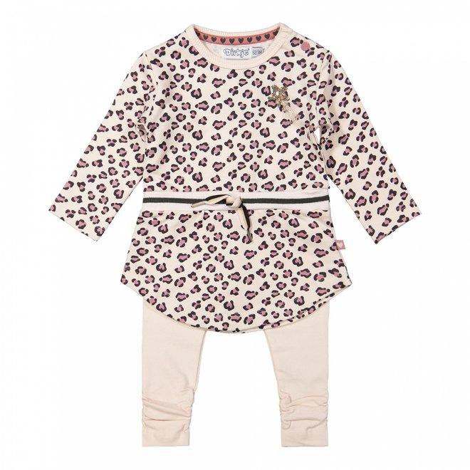 Dirkje girls baby set dress with legging soft pink panther