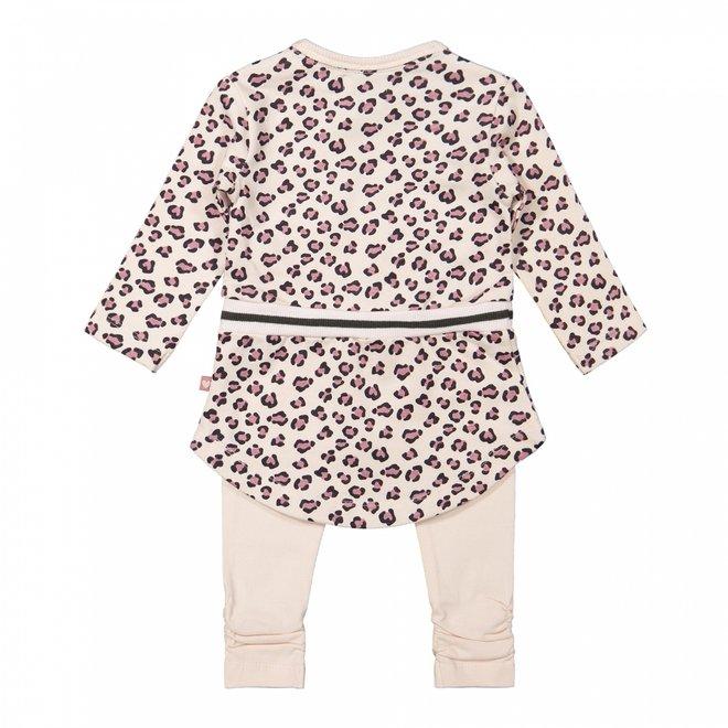 Dirkje meisjes baby set jurk met legging zachtroze panter