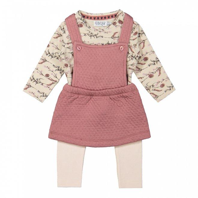 Dirkje Mädchen Baby Set Shirt Rock und Leggings altrosa