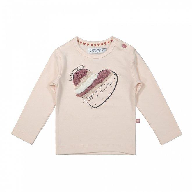 Dirkje meisjes shirt zachtroze hart met franjes