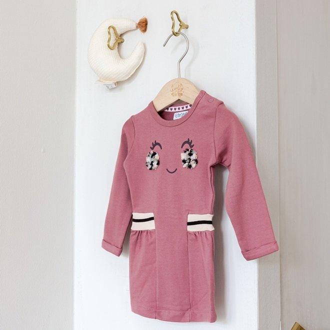 Dirkje Mädchen Kleid alt rosa mit Gesicht