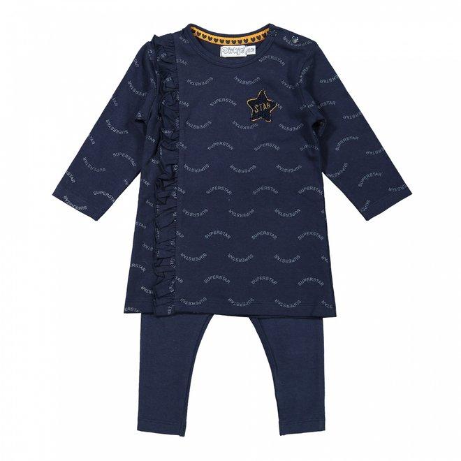 Dirkje girls baby set dress with legging dark blue