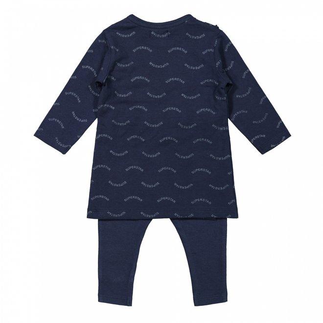 Dirkje meisjes baby set jurk met legging donkerblauw