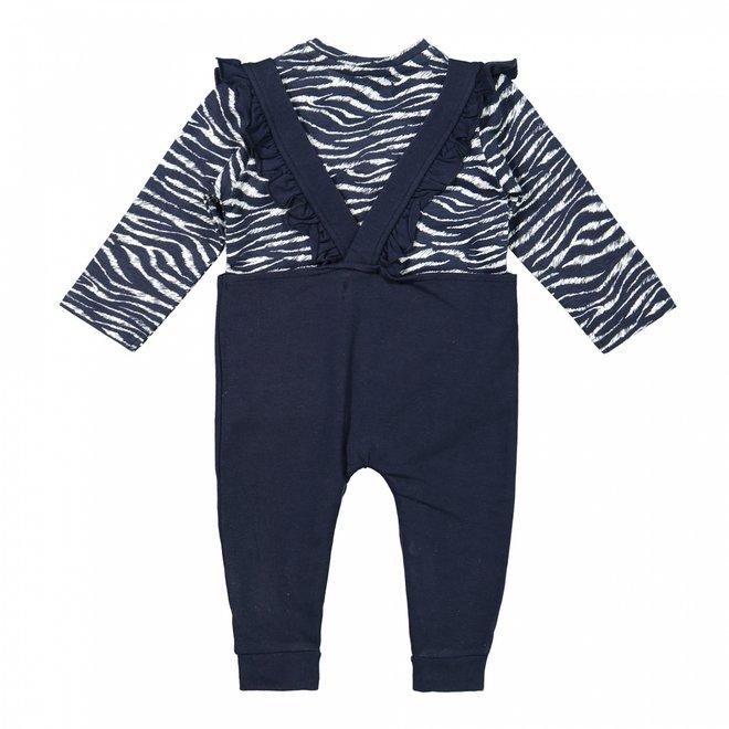 Dirkje meisjes baby set zebraprint shirt met blauwe salopette
