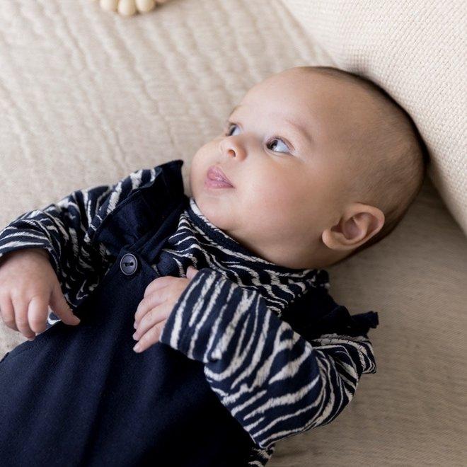Dirkje girls baby set zebra print shirt with blue dungarees