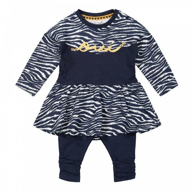 Dirkje meisjes baby set jurk zebraprint met legging blauw