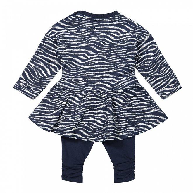 Dirkje Mädchen Baby Set Kleid Zebradruck mit Leggings blau