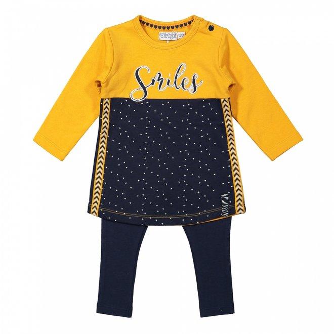 Dirkje meisjes baby set jurk met legging okergeel donkerblauw