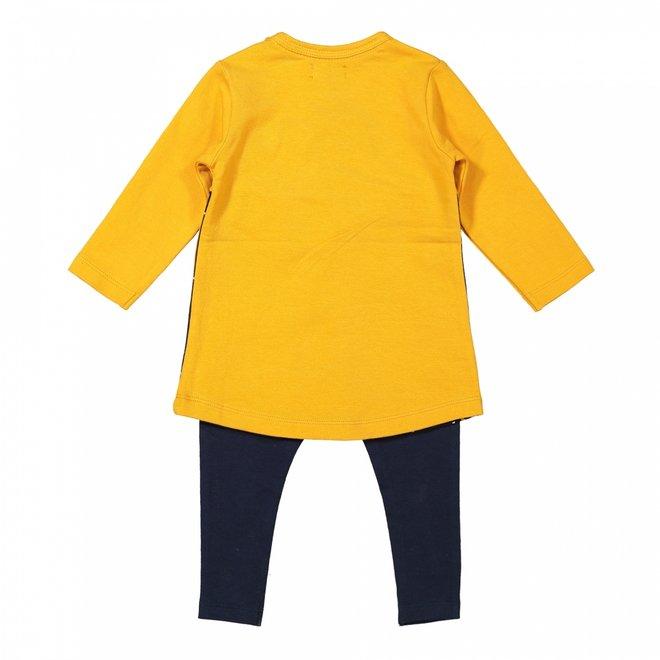 Dirkje girls baby set dress with legging ochre yellow dark blue