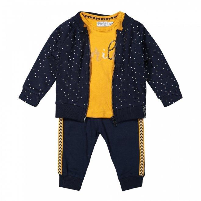 Dirkje meisjes baby set vest broek en shirt blauw okergeel