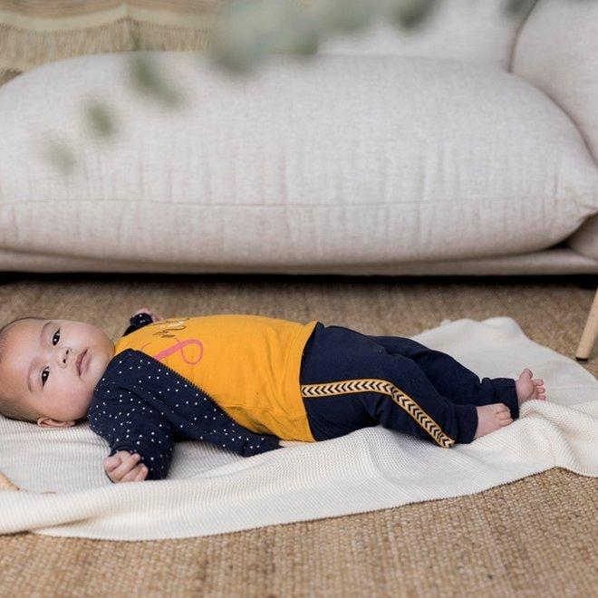 Dirkje girls baby set trouser and shirt blue ochre yellow