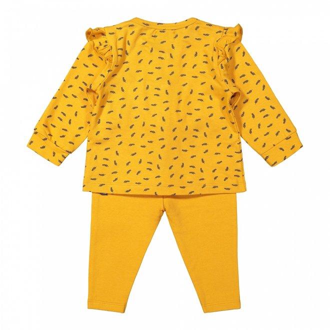 Dirkje meisjes baby set vest broek en shirt okergeel