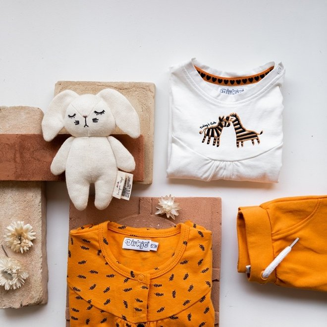Dirkje girls baby set trouser and shirt ochre yellow